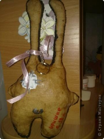 Текстильный брелок,тонировала какао и кофе. фото 2