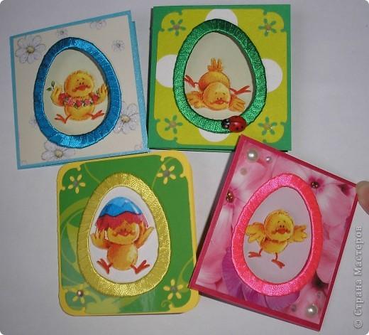 И снова цыплята. Это мини-открыточки. Размер в сложенном виде - 7,5х8 см. Цыплята - с салфетки. Создала эффект 3D.  фото 1