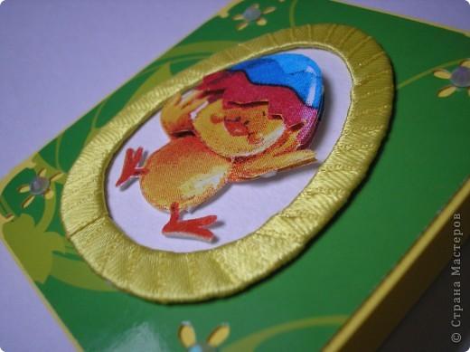 И снова цыплята. Это мини-открыточки. Размер в сложенном виде - 7,5х8 см. Цыплята - с салфетки. Создала эффект 3D.  фото 3
