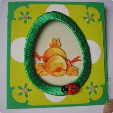 И снова цыплята. Это мини-открыточки. Размер в сложенном виде - 7,5х8 см. Цыплята - с салфетки. Создала эффект 3D.  фото 6