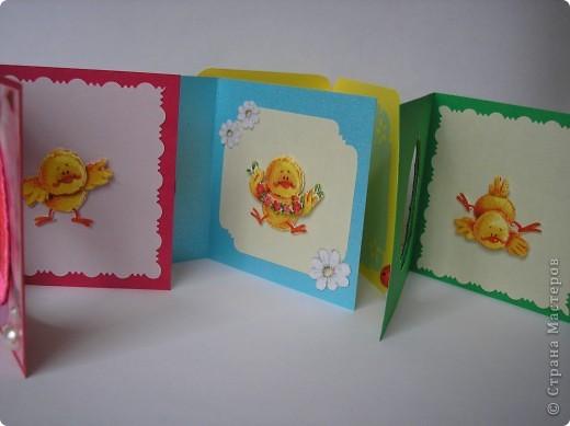 И снова цыплята. Это мини-открыточки. Размер в сложенном виде - 7,5х8 см. Цыплята - с салфетки. Создала эффект 3D.  фото 10