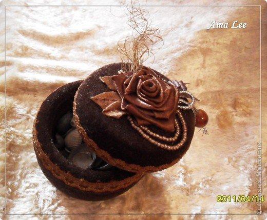 Для основы я взяла жестяную баночку из-под крема. Материал -- креп-атлас + верх, связанный крючком + розочка из лент + бисер + украшалочки. Получилась шкатулка для мелочей :) фото 8