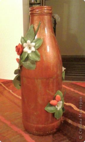 Долго стояла эта бутылка из под сока и не знала я как же её мне украсить ... опыта то нет, а что получилось вы видите. фото 3
