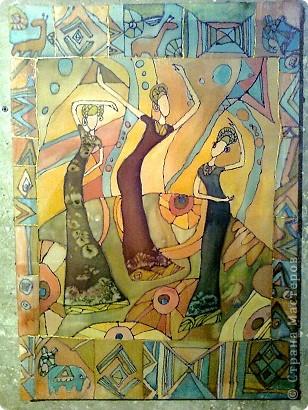 """""""Африканские слоны""""Эта новая работа Валерии,выполнена декоративной штукатуркой на фанере,раскрашена акрилом с воском. фото 3"""