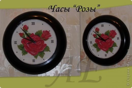 """Часы """"Розы"""" и """"Анютины глазки"""" фото 1"""