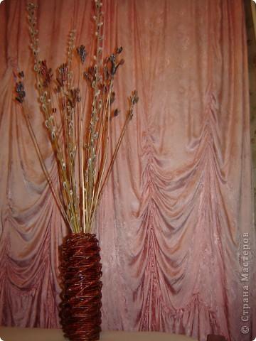 Моя первая плетеная из газет вазочка и веточки вербы и др.веточки... фото 1