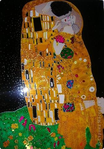 """Копия картины Густава Климта """"Поцелуй"""". Размер стекла 42*47 см.  фото 1"""