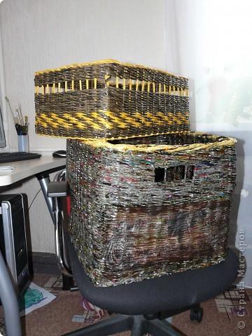 Большой короб плела из журналов мужу под заказ для инструментов. фото 1