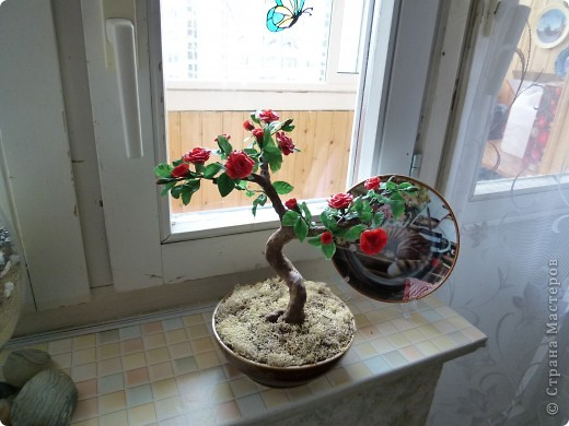 Розовое деревце, типа бансай. Сделано из глины модерн. Сама бы наврятли взялась за такую большую работу, на курсах дали задание и вот что получилось. фото 7