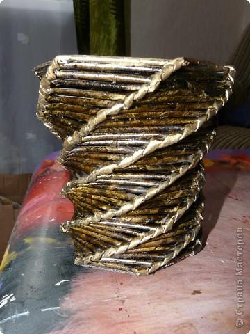 Большой короб плела из журналов мужу под заказ для инструментов. фото 7