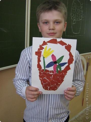 Корзина с цветами. Работы первоклашек фото 3