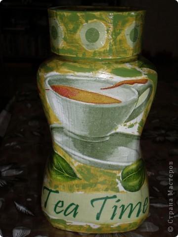 Посмотрела я на работы Мастериц страны и решила сделать себе тоже баночку для хранения чая. фото 2
