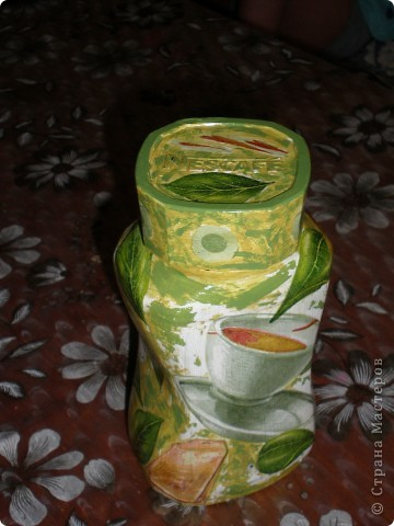 Посмотрела я на работы Мастериц страны и решила сделать себе тоже баночку для хранения чая. фото 1