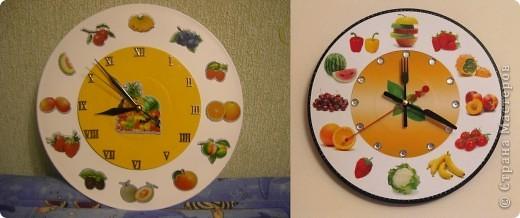 Вот такие часики сделала на кухню для свекрови. Основа - 2 пластинки разного диаметра, часовой механизм и объемные наклейки.  фото 2