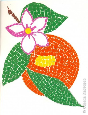Цветущий персик..работа совместно с сыном 5 лет...для детского сада! Бархатная бумага!