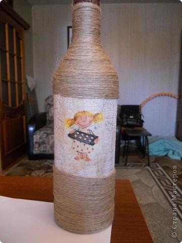 Вот такую вазочку сделала из бутылки из-под вина. Вид спереди фото 4