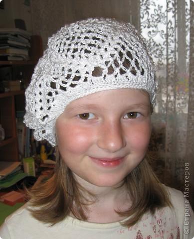 Вот такой летний берет  для дочки по мастер- классу Голубки http://stranamasterov.ru/node/79475 фото 2