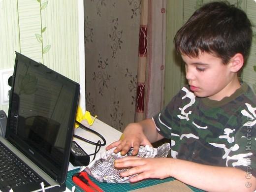 Насмотревшись на меня сын решил сделать свою, личную плетеночку для пасхи. Решил делать плетеночку по МК vista (http://stranamasterov.ru/node/59091?tid=451%2C302) спасибо ей большое! Из фоток дальше понятно, что он делал... фото 1