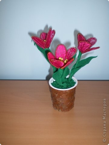 Первый раз делала цветы в технике ганутель, понравилось. Уже подарены хорошему человеку. фото 1