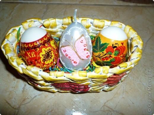 Поздравляю ВСЕХ с ВЕЛИКОЙ ПАСХОЙ! Как жаль что ВАМ кулич не подарить, что и яичко по сети ВАМ не отправить.... ..Вот к празднику в подарок сплела вторую корзиночку. фото 3