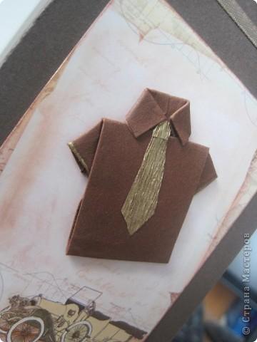Покажу свои недавние творилки  Мужская открытка с рубашкой-оригами фото 2