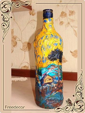 Декорирование бутылки по мотивам живописи Н.К.Рериха