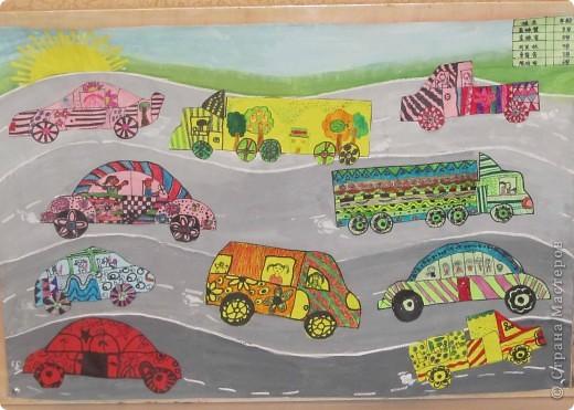 """""""Мы едем на машинах!"""" коллективная работа моих китайских учеников 6-8 лет фото 1"""