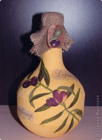 Никак не могу успокоиться, делаю уже третью бутылку с этой салфеткой, оливки меня вдохновляют.  фото 1