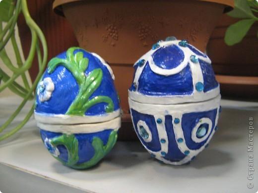 Давно хотела попробовать сделать пасхальные яйца. Вот в этом году наконец решилась. Сначала хотела сделать в технике папье-маше, но получается давольно долго, поэтому получившиеся заготовки отделывала уже полимерной глиной (сохнущей на воздухе), а потом уже раскрашивала красками. фото 1