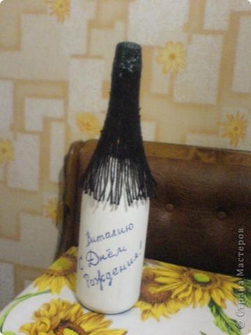 Декупаж бутылки-любимому сотруднику в День Рождения! фото 3