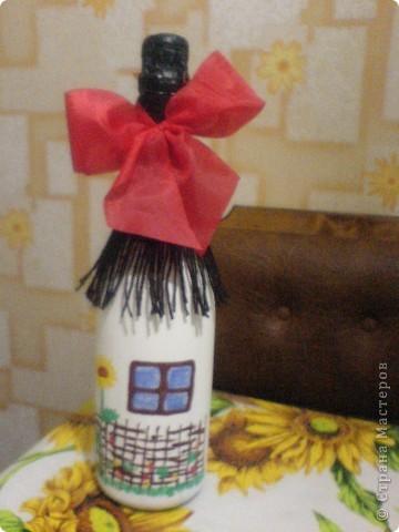 Декупаж бутылки-любимому сотруднику в День Рождения! фото 1