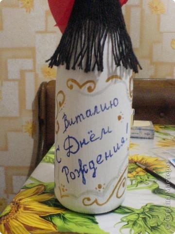 Декупаж бутылки-любимому сотруднику в День Рождения! фото 4