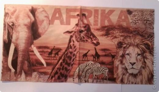 """Вот такой """"африканский"""" набор получился. После шкатулки как-то зацепила тема Африки, а тут ещё салфетки попались на глаза интересные. фото 5"""