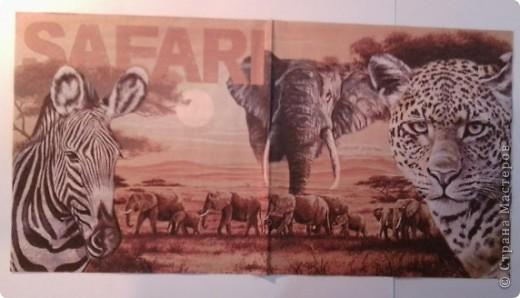"""Вот такой """"африканский"""" набор получился. После шкатулки как-то зацепила тема Африки, а тут ещё салфетки попались на глаза интересные. фото 6"""