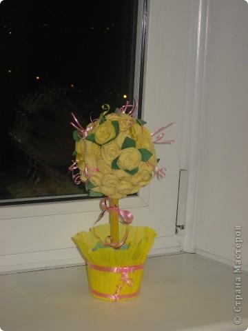 Дерево счастья. Розочки из бумажных салфеток. фото 2