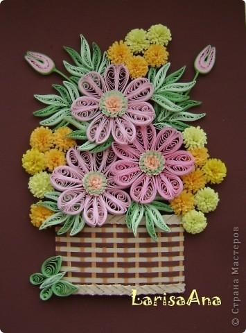 Букетик в плетённой корзинке. фото 1