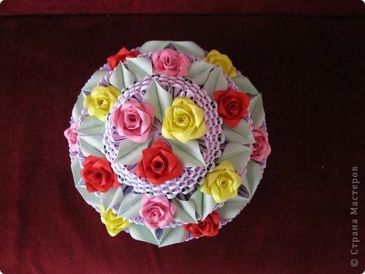 Моя первая работа в технике модульного оригами. Тортик вид сверху. фото 1