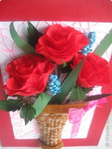 Эти розы я хотела сделать, как только увидела МК, который сделала для нас Наталия- 54 http://stranamasterov.ru/node/10626?c=favorite_a Спасибо ей огромное!!! А корзиночку я училась делать по МК Ольги Ольшак здесь http://stranamasterov.ru/node/146378 Спасибо, Ольга! фото 5