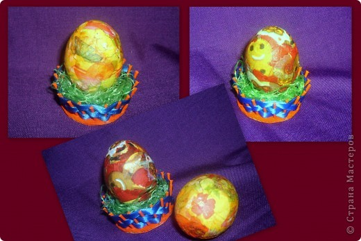 пластмассовое яйцо обмотано лентами и оплетено бисером. фото 3