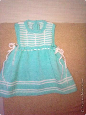 Вязанное платье для внучки ( 6 -10 мес.)