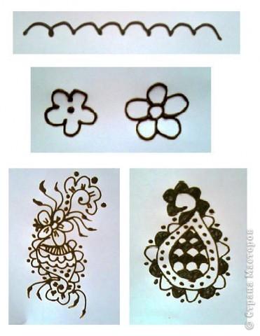 """Начало:   Введение 1    http://stranamasterov.ru/node/187189 Введение 2   http://stranamasterov.ru/node/187435 Начинаем с малого, учимся рисовать отдельные элементы. Для начинающих легче всего учиться рисовать хной на бумаге, нарисовав рисунок карандашом, а когда появиться уверенность, тогда можно попробовать на руках. И так 1-ый элемент. """"Бугорок""""  Бугорок, наиболее часто используемый элемент в рисунках расписанных хной. Ниже показаны элементы, для того чтобы более точно нарисовать на коже изображение с бугорками.    фото 11"""