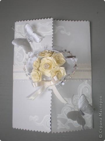 Открытка на свадьбу в серебрено-серых тонах фото 1