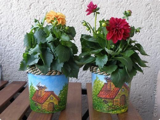 Прикупила я три цветочка, а горшочков не было, пришлось на скорую руку творить. Вот этот первый. фото 3