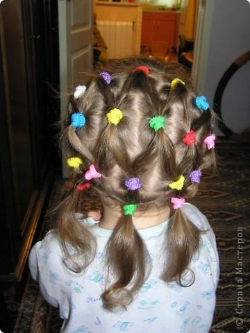 Эту причёску дочка не оценила... через пару часов пришлось снять все резиночки, хотя старалась делать совсем не туго... видно -  мы не доросли! фото 1