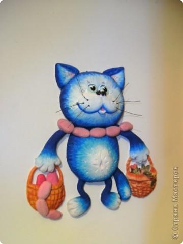 Кот выполненен из соленого теста. фото 2