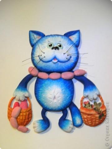 Кот выполненен из соленого теста. фото 3