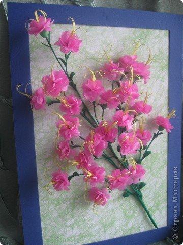 Дорогие Мастерицы,я занялась селекцией!У меня получилось что-то между японской сакурой и нашим багульником ( У нас его еще называют моральником). Так как цветы эти все-таки фантазийные, то и название я им дала соответствующее.  фото 11