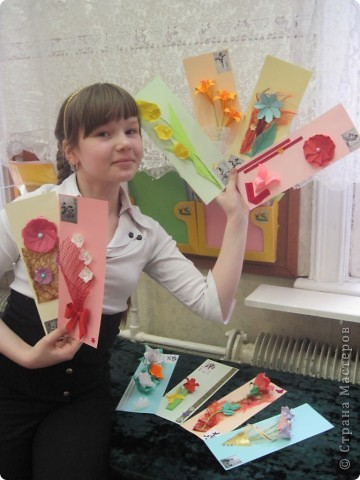 """Серию этих открыток отправили вместе с моей ученицей Калистратовой Марией на фестиваль """"Волшебный мир оригами"""" в город Омск для участия в конкурсе тематической выставки. фото 6"""