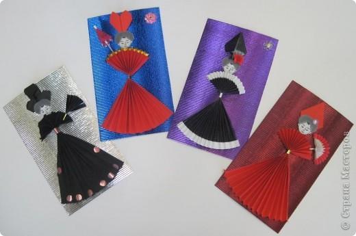 """Серию этих открыток отправили вместе с моей ученицей Калистратовой Марией на фестиваль """"Волшебный мир оригами"""" в город Омск для участия в конкурсе тематической выставки. фото 7"""