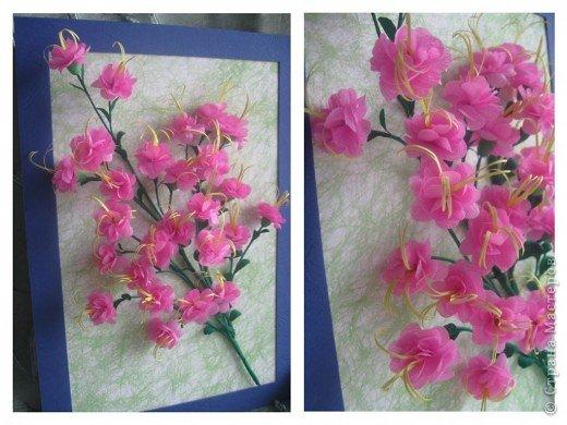 Дорогие Мастерицы,я занялась селекцией!У меня получилось что-то между японской сакурой и нашим багульником ( У нас его еще называют моральником). Так как цветы эти все-таки фантазийные, то и название я им дала соответствующее.  фото 2